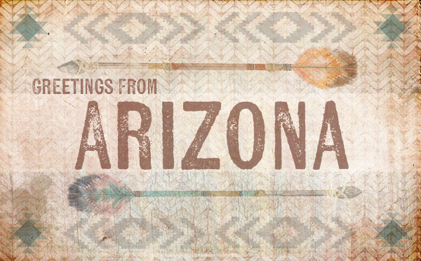 An original travel postcard—Arizona